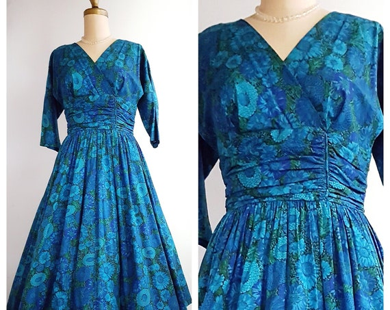 1950s blue floral cotton full skirt dress size medium