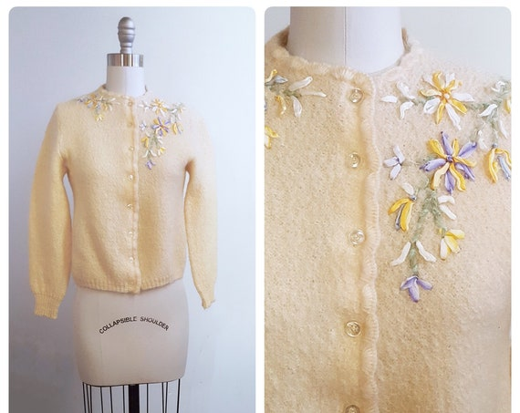 Spring botanicals | 1960s mohair and wool cardigan with ribbon flowers | 60s cream sweater