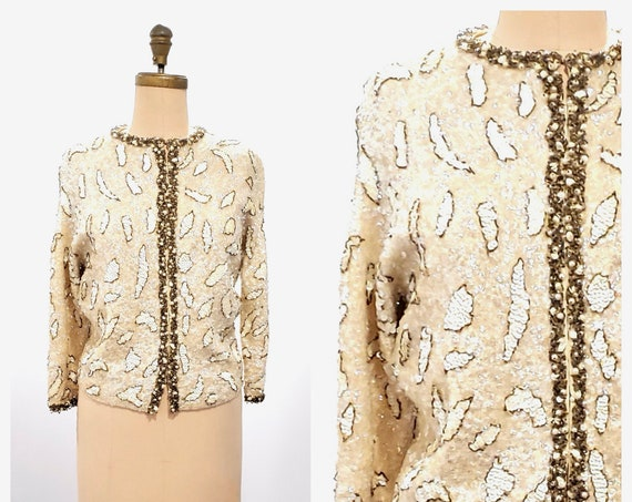 Shimmer and sparkle   1960s off white lambswool and angora cardigan with sequins, beads and pearls   60s animal print sweater   medium