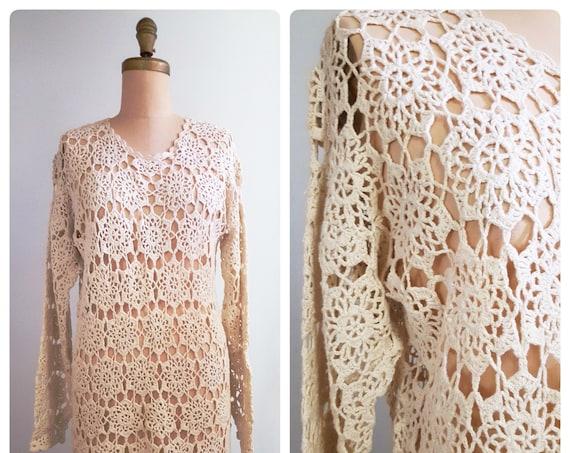 1970s crocheted dress  | 70s cotton crochet mini | size medium