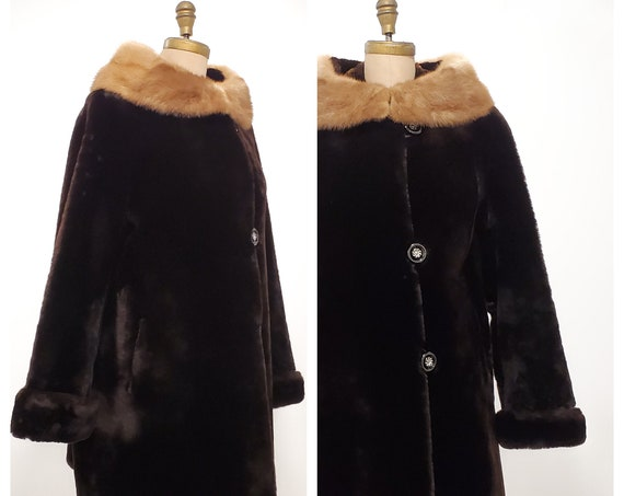 1950s chocolate brown sheared lamb mouton fur coat with mink collar | 50s fur winter coat