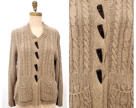 Vintage Parkhurst sweater | 1970s cable knit cardigan Made in Canada | 70s Cotton blend knit sweater | size large