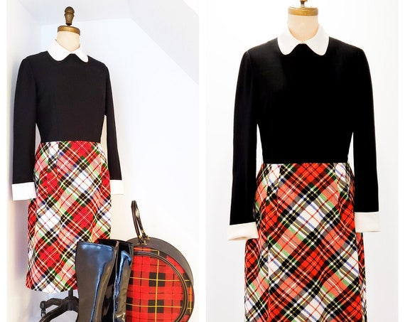 1970s RAD in plaid all-in-one dress | 70s black bodice with tartan plaid style skirt | size medium
