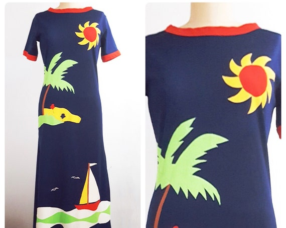 Vintage 1970s tropical appliqué beach vibes maxi dress | 70s Florida inspired palm tree knit maxi dress