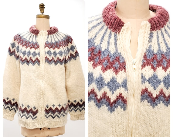 Vintage wool sweater | 1970s hand knit lined cardigan yoke sweater | 70s fair isle knit sweater | size large