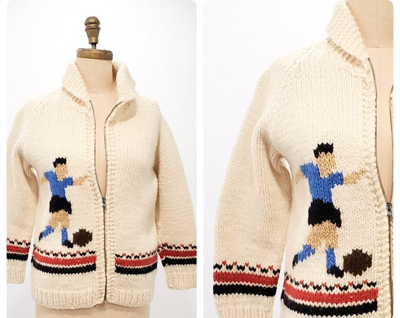 Vintage Mary Maxim soccer themed Cowichan style sweater | 1950s hand knit cardigan jacket | 50s unisex style sweater | size m petite