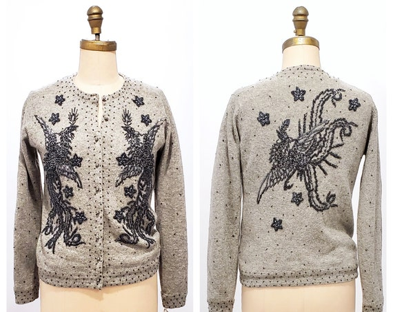 Vintage 1950s heathery gray heavily beaded wool blend cardigan | 50s beaded and sequined Phoenix bird wool sweater | size small to medium
