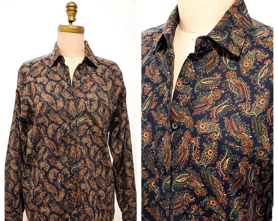 Vintage Tilley Endurables Woman's paisley shirt | 1980s preppy button down Viyella  | size small - medium