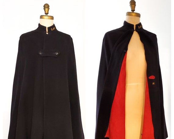 1940s navy with red lining Nurses cape | 40s wool cape | size medium
