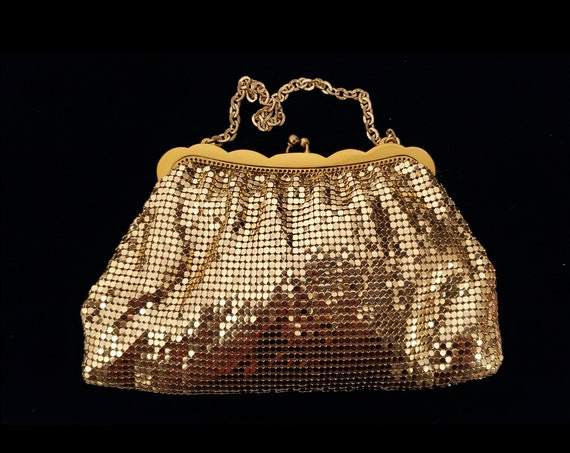1940s Whiting and Davis gold mesh handbag with wrist chain #2910