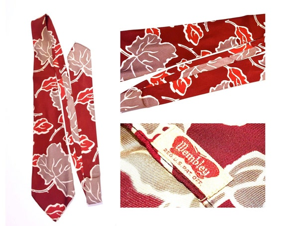 Vintage late 1940s early 1950s Wembley berry, red and grey tie