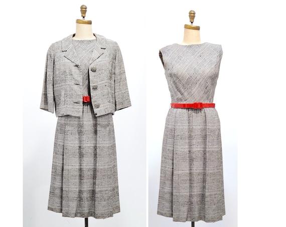 1960s Elizabeth Arden, New York houndstooth tweed two piece suit set | 60s  dress and crop jacket set | size medium