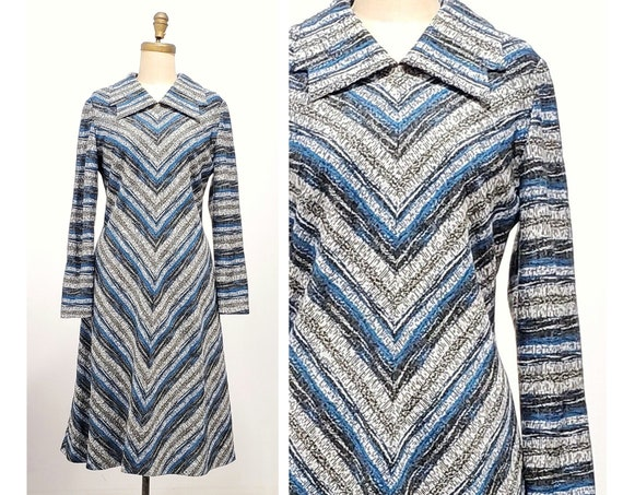 1970s navy, blue and gray chevron Daroma of England dress | 70s office dress