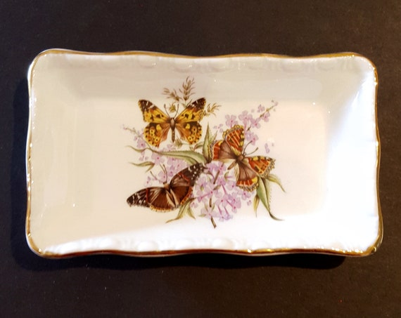 Darling Royal Grafton china butterfly motif ring tray| Mid Century Butterfly English Bone China ring/key/coin tray