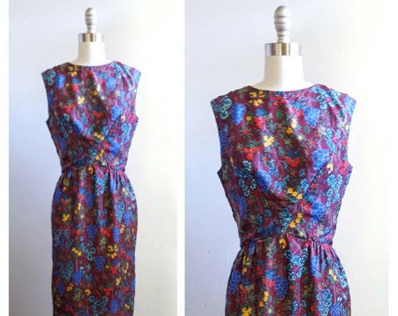 1960s silk floral dress | 60s Bonwit Teller dress