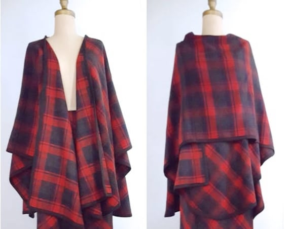 1980s pencil skirt with cape | 80s red plaid wool blend Italian suit