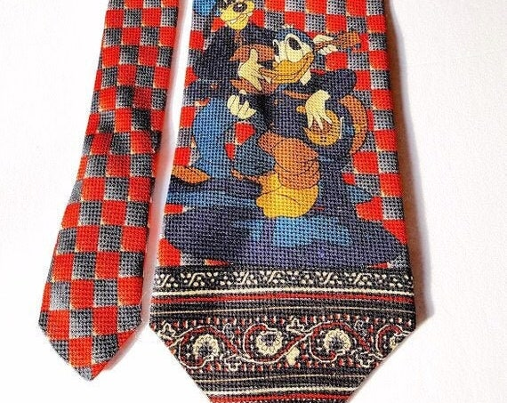 1970s/80s Mickey Unlimited Disney Donald Duck & Goofy Tie