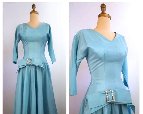 1950s blue party dress with a side bow | 50s sharkskin taffeta dress
