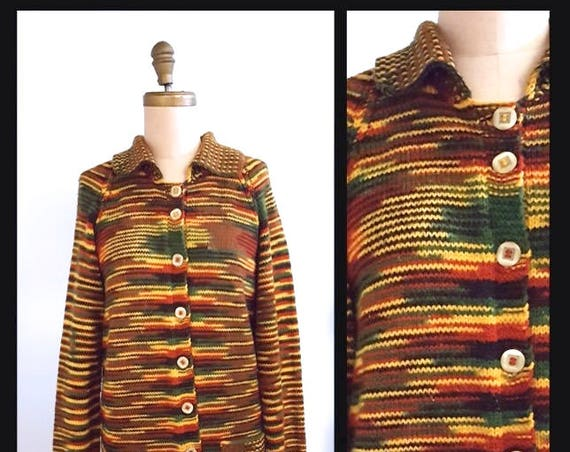 Ode to the harvest moon | 1970s autumn multicolor sweater  | 70s tweed cardigan