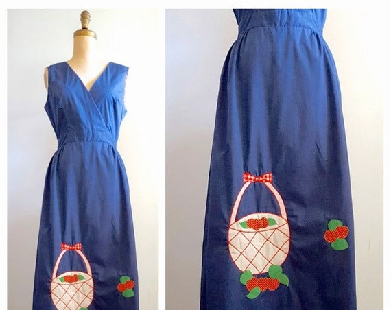 Strawberry fields forever | 1970s wrap dress | 70s maxi dress with strawberry basket appliqué