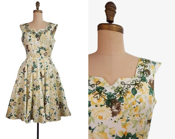 1950s floral dress | 50s Flair of Miami day dress size medium
