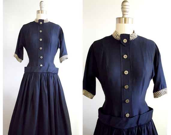 Late 1940s/early 1950s drop waist dress | 40s/50s navy full skirt dress