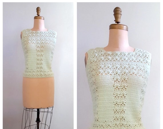 Roman Holiday | 1960s Italian crocheted sleeveless knit sweater | 60s mint green shell