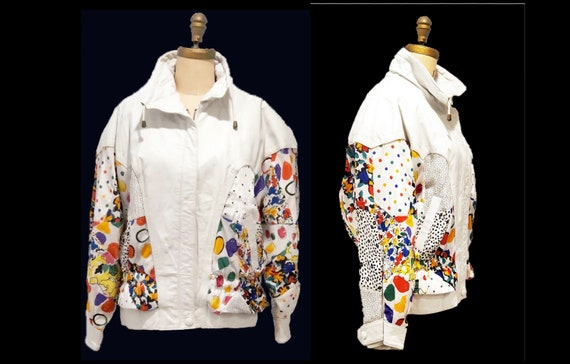 Vintage 1980s leather jacket | 80s Avanti white leather and print over sized bomber jacket | size large