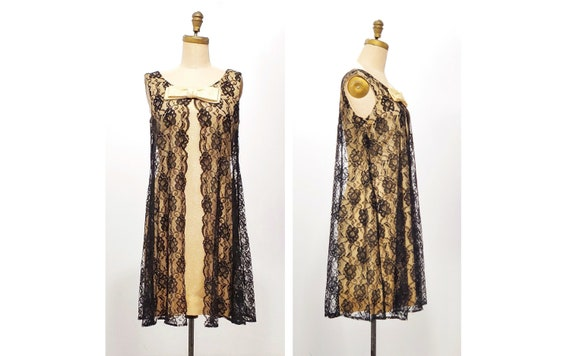 Sexy 1960s Gold Lame GoGo Dress with Black Lace Overlay | Size M