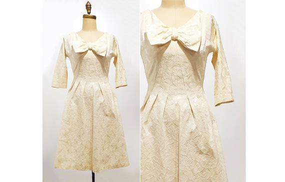 1960s ivory brocade dress   60s fitted cocktail party wedding dress