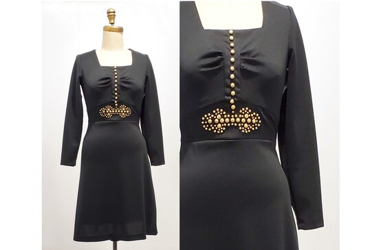 1960s black tie back dress | 60s dress with gold studs accent | size small