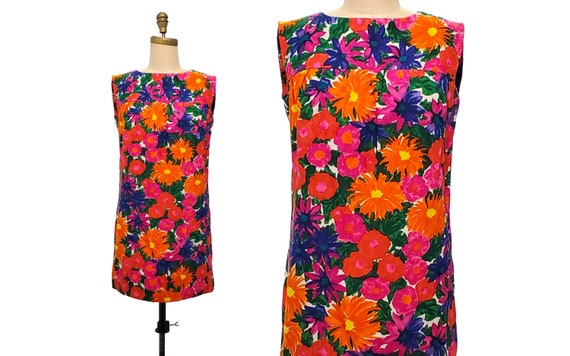 1960s vintage mod dress   60s floral mini flower p