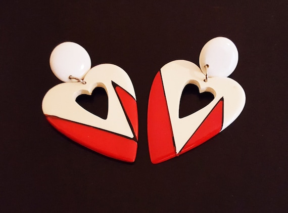1980s pierced heart shaped earrings | 80s red and white heart earrings