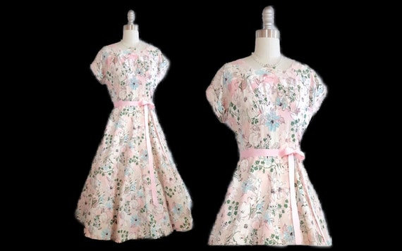 A posy a day | 1940s cotton day dress | 40s floral dress with full skirt | small