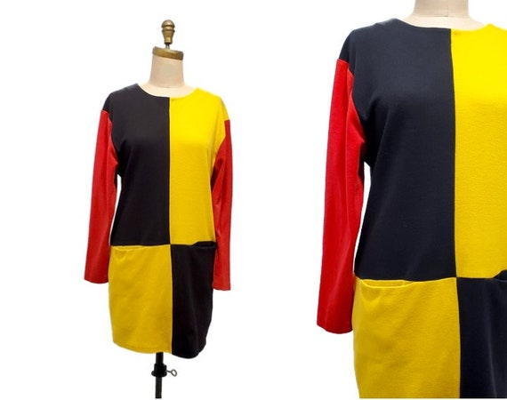 1980s All That Jazz color blocked t-shirt dress |
