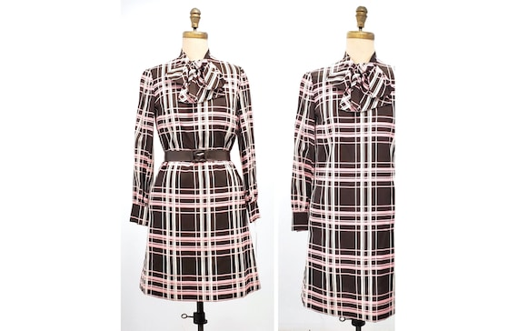 1960s designer Laurence Gross brown with pink and white plaid bow dress | 60s day travel dress