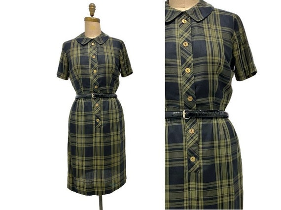Vintage 1950s plaid dress | 50s green, sage, and b