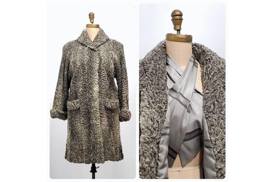 Vintage 1950s 1960s silver gray Persian lamb fur coat | 50s 60s grey fur coat