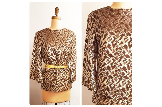 1960s animal print lame evening top