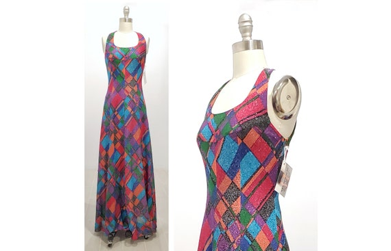 1970s sparkly geometric party dress | 70s shimmering maxi cocktail halter style dress