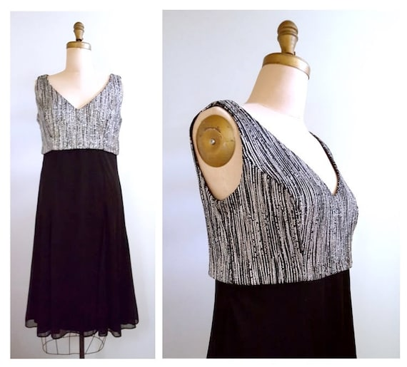 Shimmery fun and flirty | 1980s shimmery cocktail dress with silver lame bodice | 80s evening wear