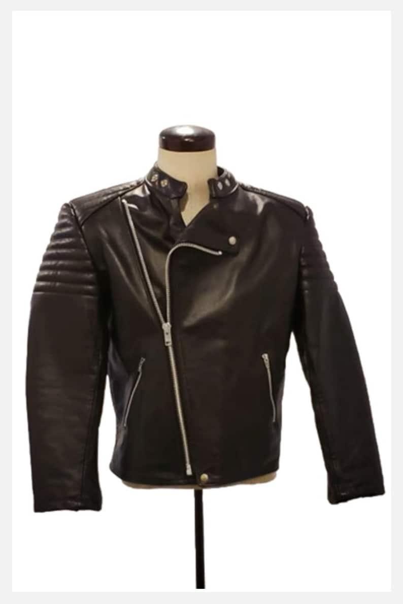 Mens Medium 1980s black leather biker jacket Vintage 80s  90s Canadian leather quilted sleeve Moto Racer jacket