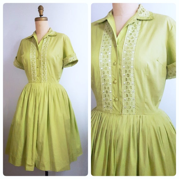 RESERVED 1950s chartreuse day dress | 50s dress with eyelet and ribbon trim size medium