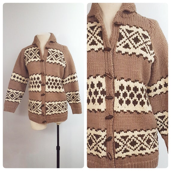 1960s chunky knit cardigan jacket | 60s cowichan style sweater with wood toggles size medium