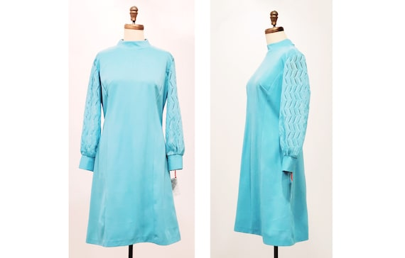 1960s swinging mod dress with peekaboo sleeves | 60s turquoise twiggy style a-line dress | Size M-L