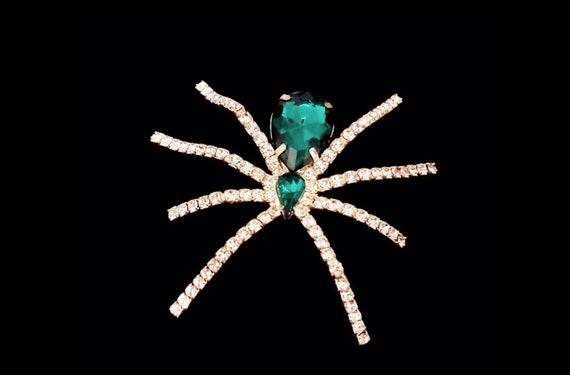 Emerald and crystal rhinestone crawler | vintage spider pin | arachnid brooch