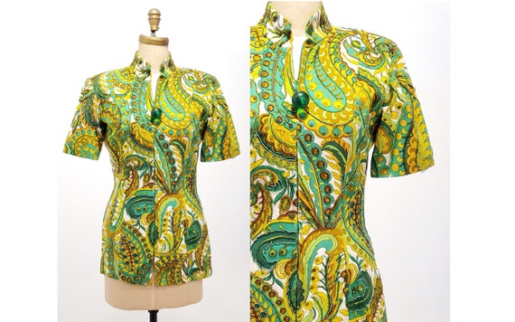 1980s beaded tunic top | 80s green, gold and white paisley zipper front top | size medium
