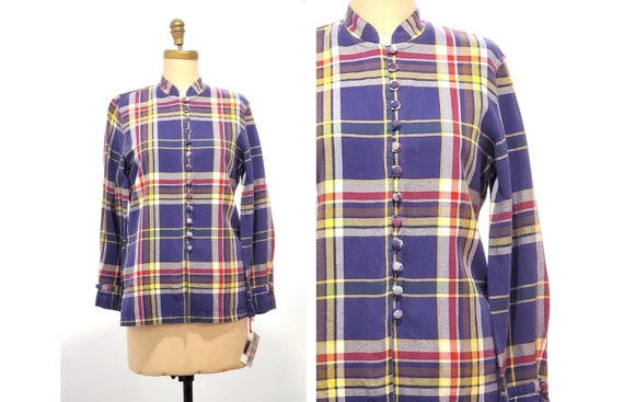 Vintage 1970s French plaid shirt | 70s cotton plaid print button front shirt size S - M