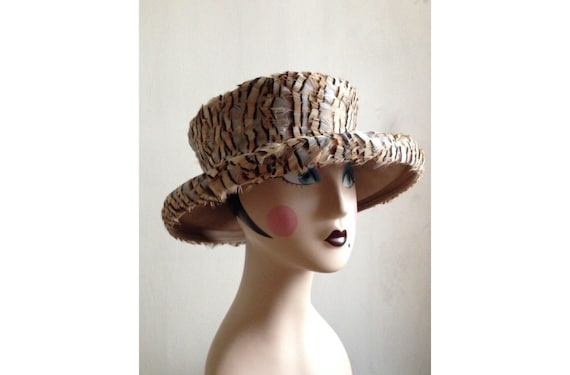 1980s designer Kokin hat | 80s feather large brim couture hat
