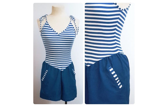 1970s 1980s one piece romper | 70s 80s striped playsuit size small to medium